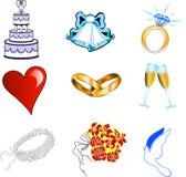 Wedding Icons. Nine Colorful glossy wedding web icons. See my other similiar illustrations Stock Image