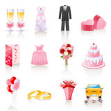 Wedding icons. Set of 12 colorful wedding icons Stock Photos