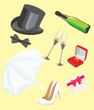 Wedding icons. The image of wedding accessories. A vector illustration Royalty Free Stock Images