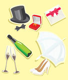 Wedding icons. The image of wedding accessories. A vector illustration Stock Image