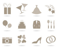 Wedding icons. Icons on a theme wedding. A vector illustration Royalty Free Stock Photos