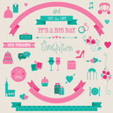 Wedding icons and banners Stock Image
