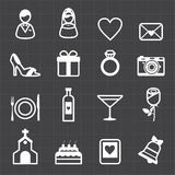 Wedding icons and black background Stock Photos