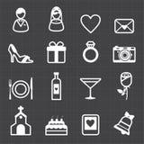 Wedding icons and black background stock illustration