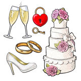 Wedding icons - cake, rings, glasses of champagne and lock Stock Photos