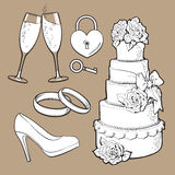 Wedding icons - cake, rings, glasses of champagne and lock Stock Images