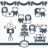 Cats Icons 7 Vector Symbols Set: wedding Stock Photos