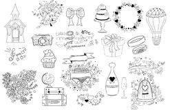 Wedding icons, doodle illustrations Stock Photos