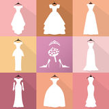 Wedding Icons.Dresses silhouette set.Fashion flat. Wedding dresses icons. Different styles.Flat Fashion bride Dress made in modern style.White dress ,accessories Stock Photography
