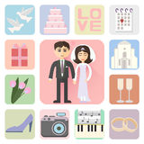 Wedding icons flat style Royalty Free Stock Photography