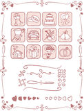 Wedding Icons and Frame Set. Vector icon set with wedding-themed doodles. Frames and border elements useful to complete any design. Ai8 vector file included Royalty Free Stock Images