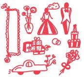 Wedding icons funny doodle. Set Royalty Free Stock Image