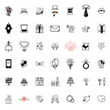 Wedding icons large set for organizing and conducting wedding events. For your design Royalty Free Stock Photo