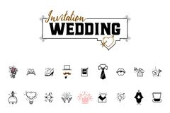 Wedding icons large set for organizing and conducting wedding events. For your design Royalty Free Stock Photography