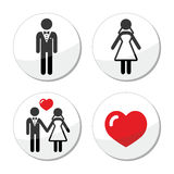 Wedding icons - married couple, groom and bride. Wedding labels set - newlywed, married couple isolated on white Royalty Free Stock Photos
