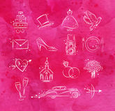 Wedding icons pink Stock Photography