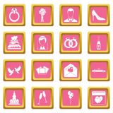 Wedding icons pink. Wedding icons set in pink color isolated vector illustration for web and any design vector illustration