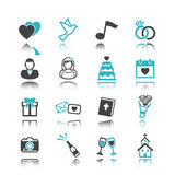Wedding icons with reflection Stock Photography