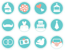 Wedding icons in retro style. Various vintage wedding icons set. Vector Stock Images