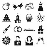 Wedding icons set Stock Images