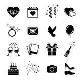 Wedding icons set. Black on a white background Stock Photos