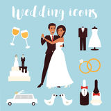 Wedding icons set. Bridal ceremony, car, dress and groom bride. Flat design vector illustration. Stock Image
