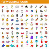 100 wedding icons set, cartoon style. 100 wedding icons set in cartoon style for any design vector illustration vector illustration