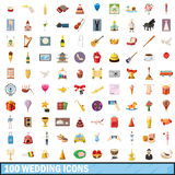 100 wedding icons set, cartoon style. 100 wedding icons set in cartoon style for any design vector illustration Royalty Free Stock Photo