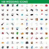 100 wedding icons set, cartoon style. 100 wedding icons set in cartoon style for any design vector illustration Stock Photos