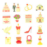 Wedding icons set, cartoon style Stock Photos