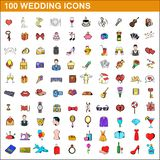 100 wedding icons set, cartoon style. 100 wedding icons set in cartoon style for any design illustration royalty free illustration