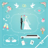 Wedding icons set Royalty Free Stock Photography