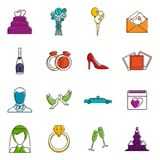 Wedding icons doodle set Royalty Free Stock Photo