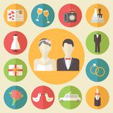 Wedding icons set, flat design vector Stock Image