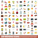 100 wedding icons set, flat style Stock Photo