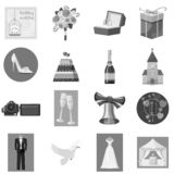 Wedding icons set, gray monochrome style. Wedding icons set. Gray monochrome illustration of 16 wedding icons for web vector illustration