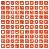 100 wedding icons set grunge orange. 100 wedding icons set in grunge style orange color isolated on white background vector illustration stock illustration