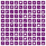 100 wedding icons set grunge purple. 100 wedding icons set in grunge style purple color isolated on white background vector illustration vector illustration
