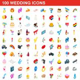100 wedding icons set, isometric 3d style. 100 wedding icons set in isometric 3d style for any design illustration royalty free illustration