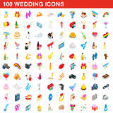 100 wedding icons set, isometric 3d style. 100 wedding icons set in isometric 3d style for any design vector illustration Stock Images