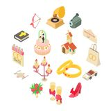 Wedding icons set, isometric style. Wedding icons set. Isometric illustration of 16 wedding vector icons for web royalty free illustration