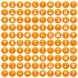 100 wedding icons set orange. 100 wedding icons set in orange circle isolated on white vector illustration stock illustration