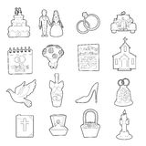 Wedding icons set, ouline cartoon style Royalty Free Stock Photography