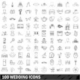 100 wedding icons set, outline style. 100 wedding icons set in outline style for any design vector illustration Vector Illustration