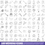 100 wedding icons set, outline style. 100 wedding icons set in outline style for any design vector illustration Royalty Free Stock Photos