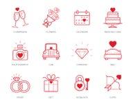 Wedding icons set Royalty Free Stock Images