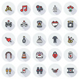 Wedding icons set on round background. Created For Mobile, Web, Decor, Print Products, Applications. Icon . Vector illustration Royalty Free Stock Image