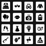 Wedding icons set, simple style. Wedding icons set. Simple illustration of 16 wedding vector icons for web vector illustration