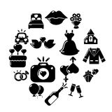 Wedding icons set, simple style. Wedding icons set. Simple illustration of 16 wedding vector icons for web stock illustration