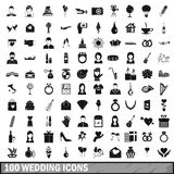 100 wedding icons set, simple style. 100 wedding icons set in simple style for any design vector illustration Royalty Free Stock Image